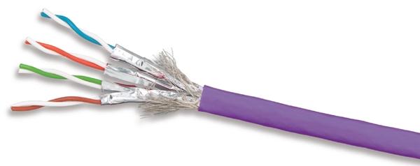 9T7L4-E10 - Кабель кат.7A S/FTP 1000МГц, LS0H, фиолетовый, 305м