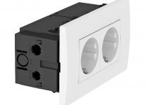 6119407 - OBO BETTERMANN Укомплектованный розеточный блок AR45 (2xModul45,84x140x59 мм,белый) (SDE-RW D0RW2).