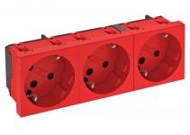 6120306 - OBO BETTERMANN Розетка тройная 33° с з/к, с кодом, 250 В, 16A (красный) (STD-D3K SRO3).