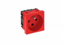 6120312 - OBO BETTERMANN Розетка одинарная 0° франц. стандарт, с кодом, 250 В, 16A (красный) (STD-F0K SRO1).