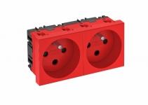 6120314 - OBO BETTERMANN Розетка двойная 0° с кодом, 250 В, 16A (красный) (STD-F0K SRO2).